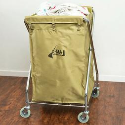 10 Bushel Beige Metal X-Frame Folding Laundry Hamper Cart