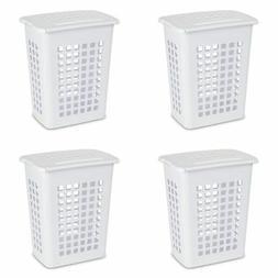 STERILITE 12238004 Rectangular LiftTop Laundry Hamper, White