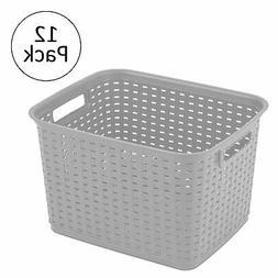 Sterilite 12736 Tall Weave Plastic Laundry Hamper Storage Ba