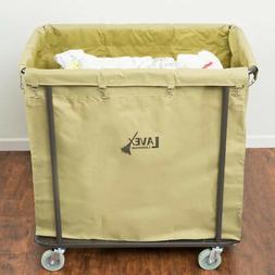 14 Bushel Beige Metal Frame Laundry Hamper / Trash Cart with