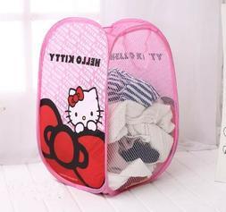 1PC Kawaii Hello Kitty Foldable Nylon Mesh Hamper Laundry Ba