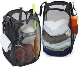 2 Pack - SimpleHouseware Mesh Pop-Up Laundry Hamper Basket w
