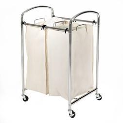 Seville Classics 2-Bag Laundry Sorter, Chrome