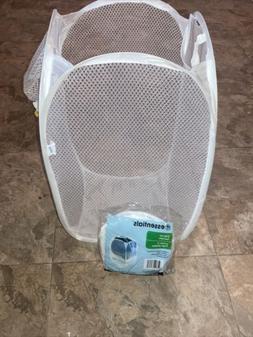 2 Blue Foldable Pop Up Laundry Basket Bag Drawstring Mesh St
