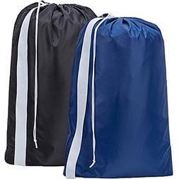 2 Pack Nylon Laundry Bag with Strap & Drawstring, Large Hamp