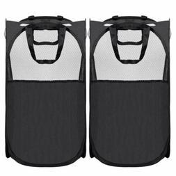 2PCS Foldable Mesh Hamper with Reinforced Carry Handles Pop-