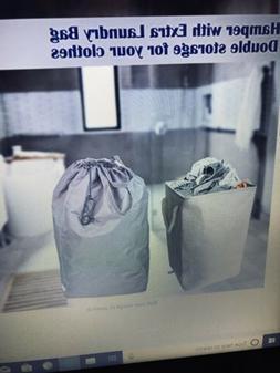 """2 Pk UNILIGIS Square Hamper W/ Laundry Bag New 19.7"""" Colla"""