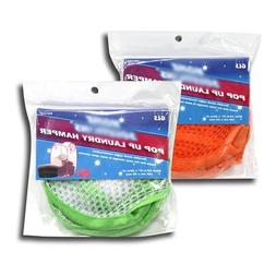 "2 POP UP LAUNDRY HAMPERS - DURABLE MESH NYLON - 12 1/2"" X 20"