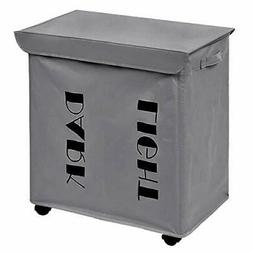 Chrislley 2 Section Double Laundry Hamper with Lid Rolling L