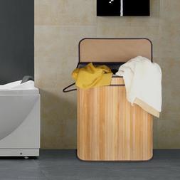 2 Section Laundry Basket Dirty Cloth Hamper Laundry Hamper W