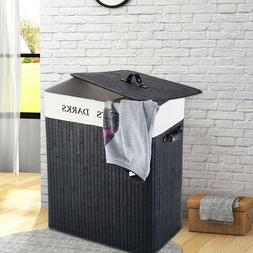 2 Sections Bamboo Laundry Basket Hamper Clothes Storage Bin