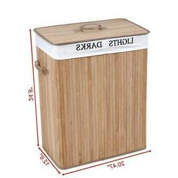 2 Sections Bamboo Laundry Sturdy Basket Convenient Clothes S