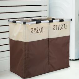 2 Sections Durable Laundry Hamper Basket Clothes Washing Sto