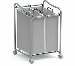 Simple Houseware 2-Bag Heavy Duty Rolling Laundry Sorter Car