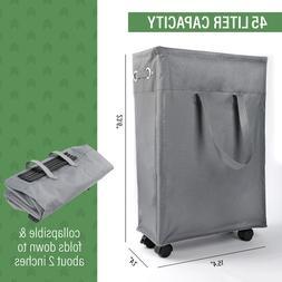 "22"" Rolling Slim Laundry Hamper Basket Foldable Waterproof S"