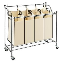 Laundry Sorter 4-Bag Heavy-Duty Rolling Divided Laundry Hamp