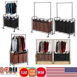 3/4 Bag Rolling Wheel Laundry Hamper Sorter Cart Clothes Org