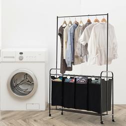Laundry Cart 3/4 Bag Sorter Hamper Rolling Wheels Storage Cl