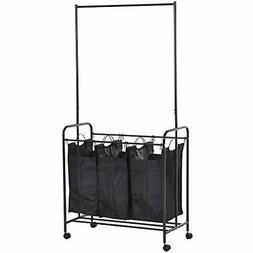 3 Bag Heavy Duty Divided Laundry Hamper Sorter Cart With Whe