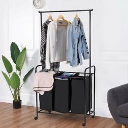 3 Bag Home Rolling Laundry Sorter Cart Hamper Clothes Organi
