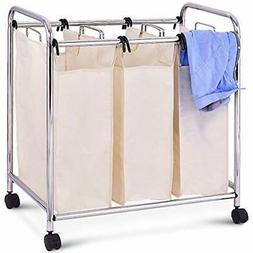 3-Bag Laundry Cart Sorter On Casters Basket Bathroom Hamper