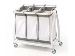 Seville Classics 3-Bag Laundry Hamper Sorter Cart White Heav