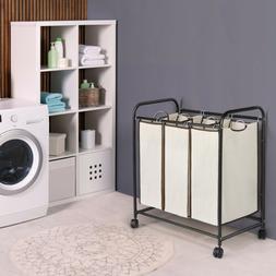 3-Bag Laundry Sorter Cart Laundry Hamper Sorter Heavy Duty R