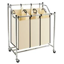 Large 3-Bag Laundry Sorter Cart  Wheels Laundry Hamper with