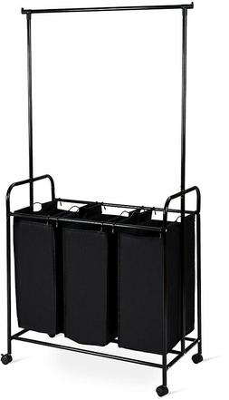 3-Bag Laundry Sorter Hamper Cart with Hanging Bar Black Larg