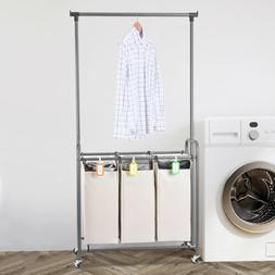 3 Bag Rolling Laundry Sorter Cart Hamper Organizer W/Wheels