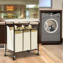 Heavy Duty Rolling Triple Laundry Sorter/Organizer/Hamper/Ca