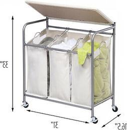 3 Bin Laundry Room Sorter Hamper Basket Ironing Board Combo