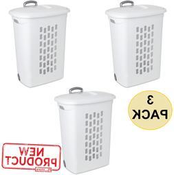 3 pack wheeled plastic laundry hamper rolling