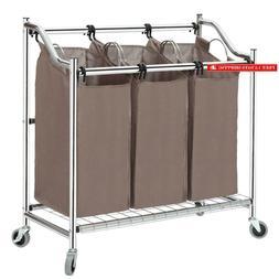 Storage Maniac 3-Section Heavy Duty Laundry Hamper Sorter, S