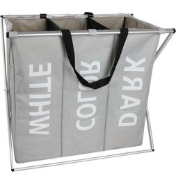 3 Section Laundry Hamper with Heavy-Duty Laundry Basket Orga