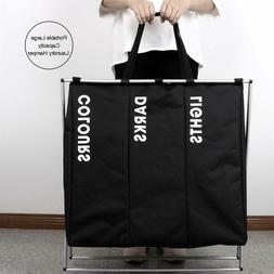3 section laundry sorter hamper clothes storage