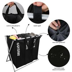 3 sections basket hamper for laundry foldable