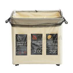 3 Sections Basket Hamper Laundry Foldable Wash Bag Clothes D