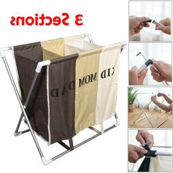 3 Sections Basket Hamper Laundry Foldable Wash Clothes Dirty
