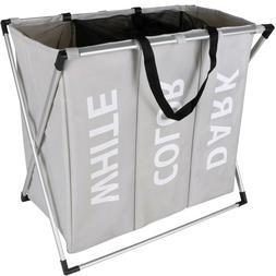 3 Sections Large Foldable Laundry Basket Bin Hamper Storage