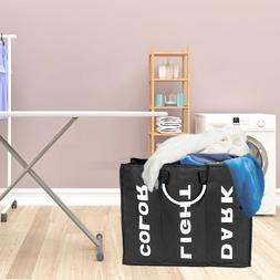 3 Sections Laundry Bag Clothes Washing Basket Hamper Storage