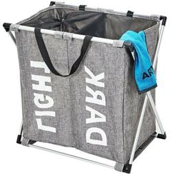 HOMEST 3 Sections Laundry Hamper Basket with Aluminum Frame