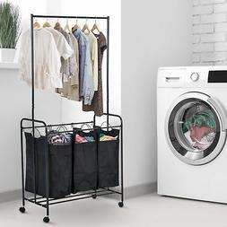 """33""""L 3-bag  Rolling Laundry Hamper Sorter Cart Clothes Organ"""
