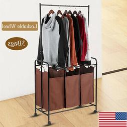 3Bags Mobile Laundry Cart Sorter Hamper Wash Clothes Storage
