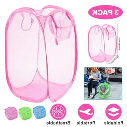 3Pcs Pop-Up Laundry Hampers Foldable Mesh Clothes Basket for