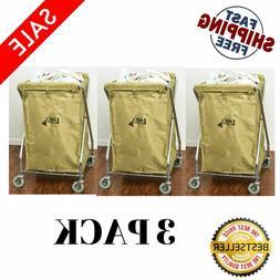 3x 10 Bushel Commercial Rolling Laundry Hamper Linen Hotel T