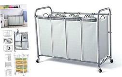 4 Bag Laundry Sorter Cart, Laundry Hamper Sorter with Heavy