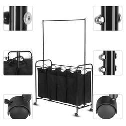 4 Bag Removable Bag Laundry Sorter Cart Heavy Duty Hamper wi