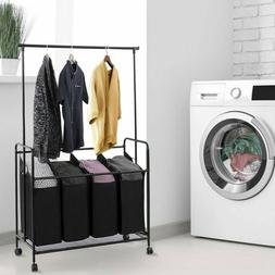 Laundry Hamper With Wheels And Hanging Bar Sorter Cart 4 Bag