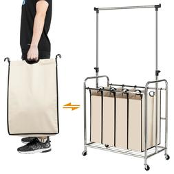 4-bags Electroplate Laundry Hamper Sorter Wheels Hanging Bar